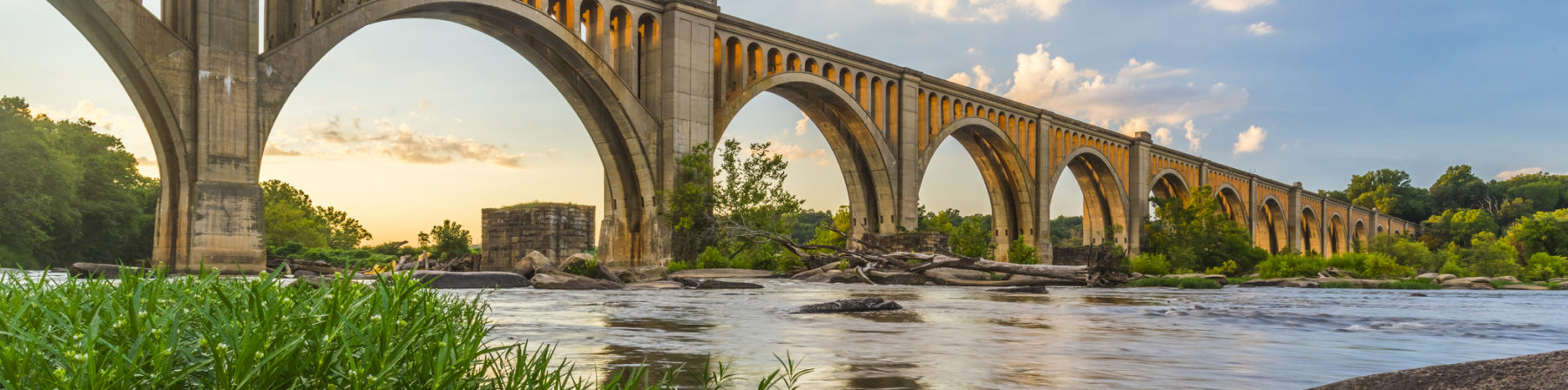 This concrete arch railroad bridge spanning the James River was built by the Atlantic Coast Line, Fredericksburg and Potomac Railroad in 1919 to route transportation of freight around Richmond, VA.