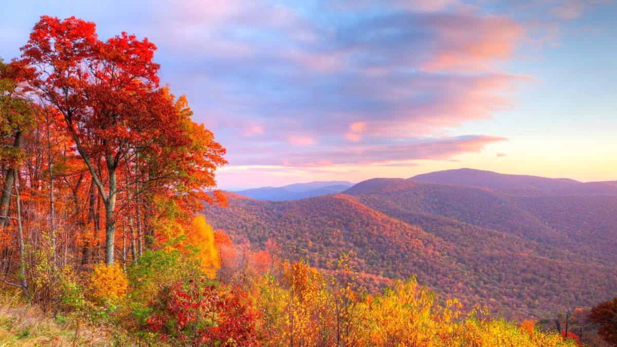 Sunrise in autumn at Shenandoah National Park.