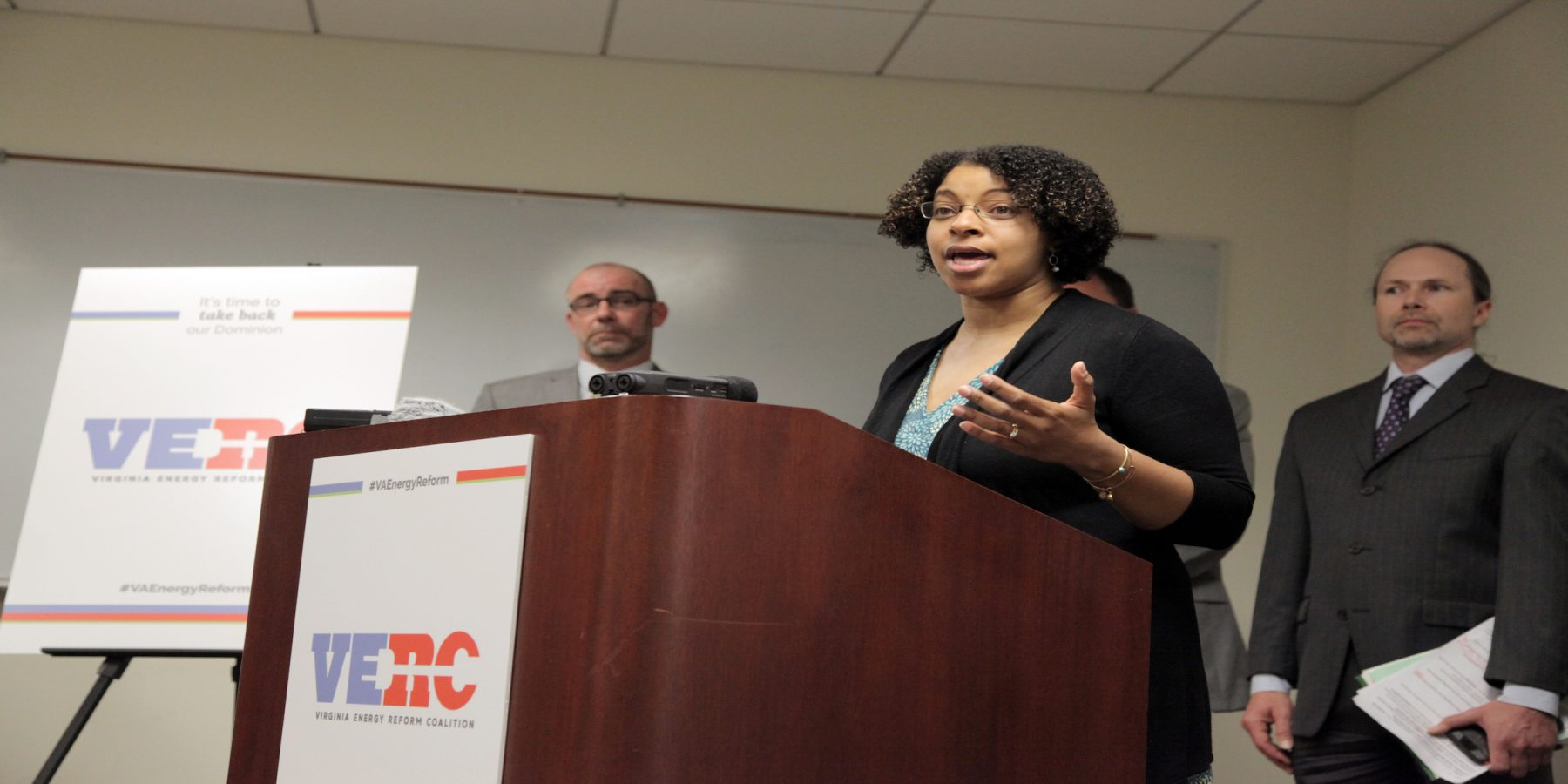 Dana Wiggins of the Virginia Poverty Law Center speaks at a press conference launching the Virginia Energy Reform Coalition.